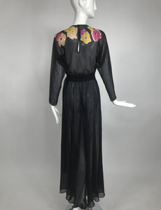 Vintage 1930s Floral Print Bias Cut Black Silk Chiffon Maxi Dress