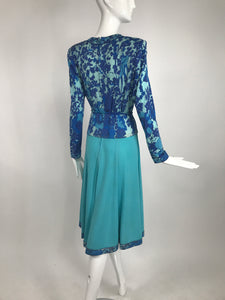 Vintage Averado Bessi Turquoise Print Silk jersey Dress and Belt