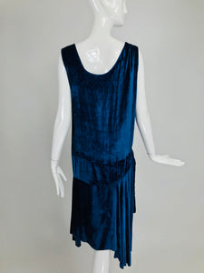 Vintage 1920s Dark Azure Blue Panne Velvet Flapper Dress