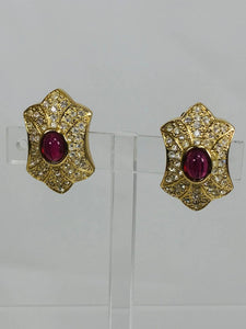 Christian Dior Germany Gold and Rhinestone Red Stone Center Earrings