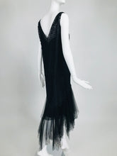 SOLD Vintage Black Lace and Tulle Dip Hem 1920s Flapper Dresss