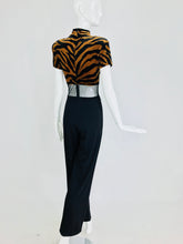 SOLD Tiger Panne Velvet Mesh and Jersey Jumpsuit 1970s Cache'