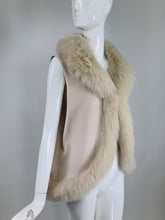 Giorgio Italy Pale Pink Cashmere Cape and Vest with Fox Fur Trim