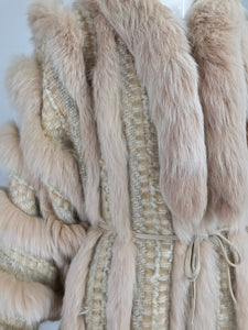 Vintage Schjelde Pale Pink Tweed and Fox Fur Coat 1980s