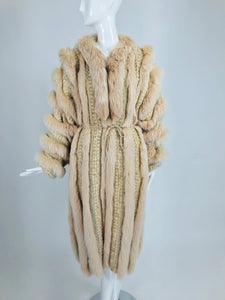 SOLD Vintage Schjelde Pale Pink Tweed and Fox Fur Coat 1980s