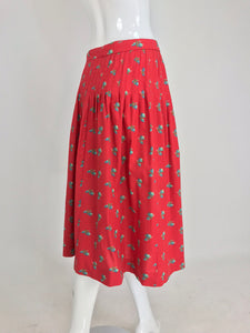Yves Saint Laurent Red Cotton Provincial Print Skirt 1960s