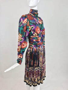 SOLD Emanuel Ungaro Rich Silk Jacqard Ikat Print Pleated Skirt and Top 1980s