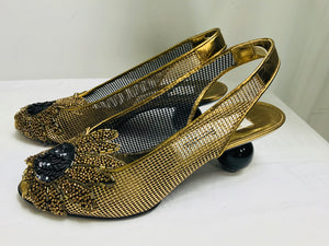 Pensato Ball Heel Beaded Gold Mesh Slingback Shoes 36 1/2