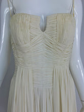 Fernanda Gattinoni Couture Ivory pleated silk chiffon evening gown 1950s