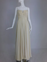 Vintage Fernanda Gattinoni Couture Ivory pleated silk chiffon evening gown 1950s