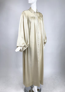 1940s Champagne Silk Hand Embroidered Bishop Sleeve Robe Vintage