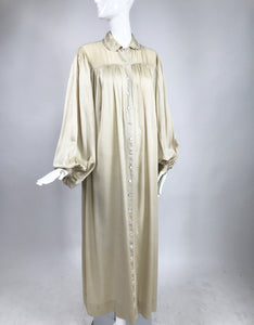 SOLD 1940s Champagne Silk Hand Embroidered Bishop Sleeve Robe Vintage