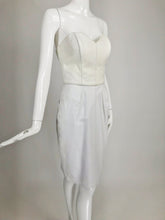 Vintage North Beach Leather Two Tone White Bustier & Skirt 1980s