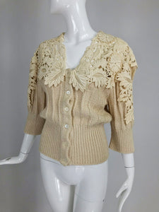 SOLD Vintage Chloe Karl Lagerfeld Cream Silk Lace Chunky Sweater 1980s