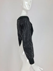 Jean Paul Gaultier black leather and Knit Off the Shoulder Jacket 1990s