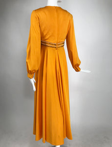 Vintage Plunge V Jewel Empire Waist Maxi Dress in Pumpkin 1970s
