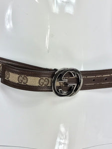 Gucci Silver Buckle Logo Canvas and Leather Belt