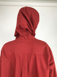 Vintage Romeo Gigli Burgundy Oversize Shirt with Attached Hood Scarf 1980s