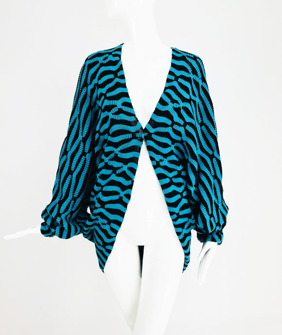 Cora Blue Paris Cocoon Sweater in Turquoise and Black 1980s OS