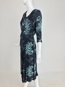 1940s Plume and Butterfly Rayon Print Day Dress