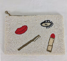 SOLD Surrealistic Beaded Eye Lips Cosmetic Bag 1930s