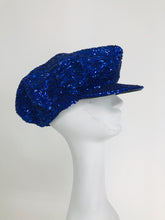 1980s Blue Sequin News Boy Cap Disco Novelty Vintage