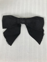 Chanel Black Silk Ribbon Clip on Hair Bow 1980s Vintage