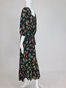 Vintage 1970s Arpeja Cotton Print Maxie Prairie dress