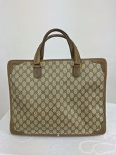SOLD Gucci Logo Canvas and Leather Tote Bag Lap Top Bag 1970s