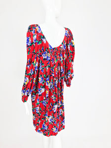Yves Saint Laurent Red Floral Silk Jacquard Scoop Neck Dress 1980s