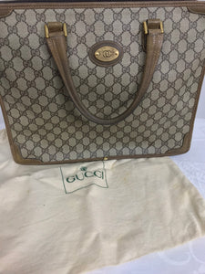 Gucci Logo Canvas and Leather Tote Bag Lap Top Bag 1970s