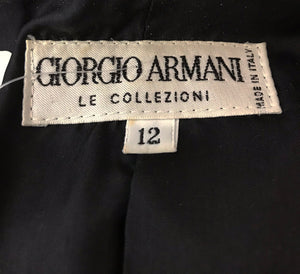 Giorgio Armani Black Wool Double Breasted Belted Coat
