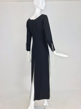 1970s Vintage Laced Black and White Crepe Slit Front Tunic