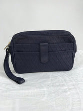 Vintage Valentino Garavani Navy Zipper and Strap Logo Clutch 1980s