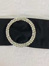 Rhinestone buckle black fabric belt 1970s