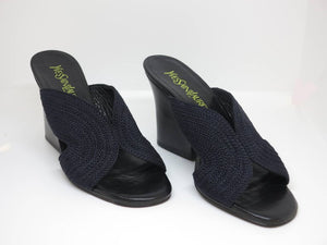 Yves Saint Laurent Black Cord and Leather Mules, Unworn 7B