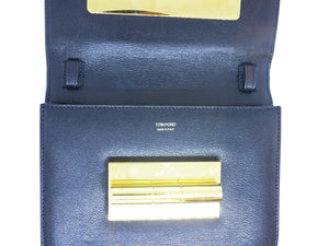 Tom Ford Natalia Medium Black Calf Leather Clutch Shoulder Bag
