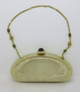 SOLD Judith Leiber gold sunburst hardside evening clutch or shoulder bag