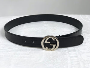 Gucci Black Leather Round Silver Buckle Belt 30