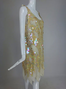 Sweelo Beaded Iridescent Paillette 1920s inspired dress 1980s Large NWT