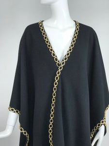 Vintage Black Wool Gold Chain Trim Cape 1980s