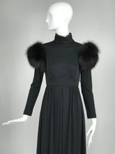 SOLD Vintage Lillie Rubin Victorian Inspired Black Jersey with Fur Shoulders 1970s