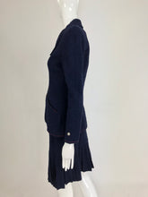 Chanel Navy Blue Appliqued Fitted Suit with Short Pleated Skirt 1997A