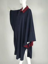 Chloe 1981 Blue and Wine Wool Cape Designed by Karl Lagerfeld Documented