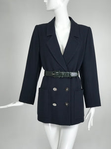 SOLD Vintage Yves Saint Laurent Dark Blue Double Breasted Ribbed Wool Jacket 1990s