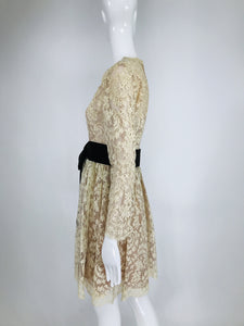 Vintage Rembrandt 1960s Cream Lace Baby Doll Dress