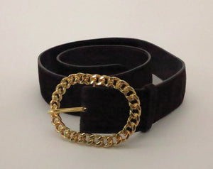 Gucci chocolate brown suede belt with gold chain buckle