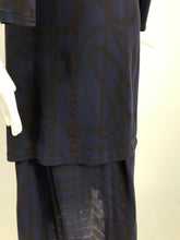 Yohji Yamamoto Blue and Grey Asymmetrical Top and Pocket Skirt