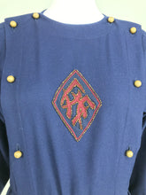 Chloe 1981 Karl Lagerfeld Blue Embroidered Button Front Dress Documented