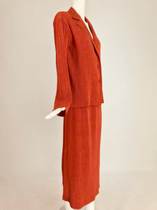 Issey Miyake Fete paprika pleated top and skirt set